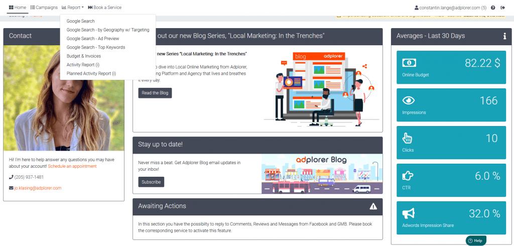 Marketing Dashboard Adplorer