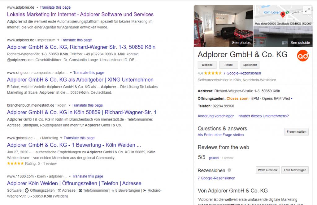 Adplorer Google My Business Köln